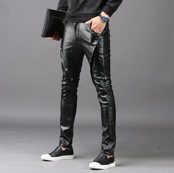 Winter personality fashion slim motorcycle faux leather pants mens feet pants pu trousers for men pantalon homme black autumn