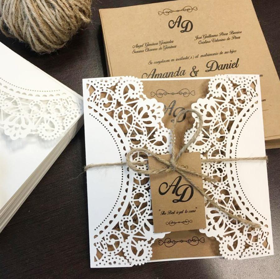 Rustic Wedding Invitations with Monogram Tag Wedding Invitation ...
