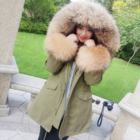 maomaokonghigh quality 2018 stree style real raccoon fur collar parka Winter jacket women coats Outerwear with sleeve fur parkas