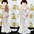 Женщины спинки длиной до пола ну вечеринку мода платья формальные белый русалка с длинным рукавом кружевном платье видеть сквозь сексуальный Vestido