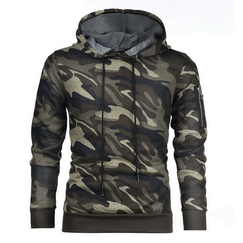 Litthing Mens' Causal Hoodies Sweatshirts Autumn Winter Male Long Sleeve Camouflage Hooded Sweatshirt Tops Sudaderas Para Hombre