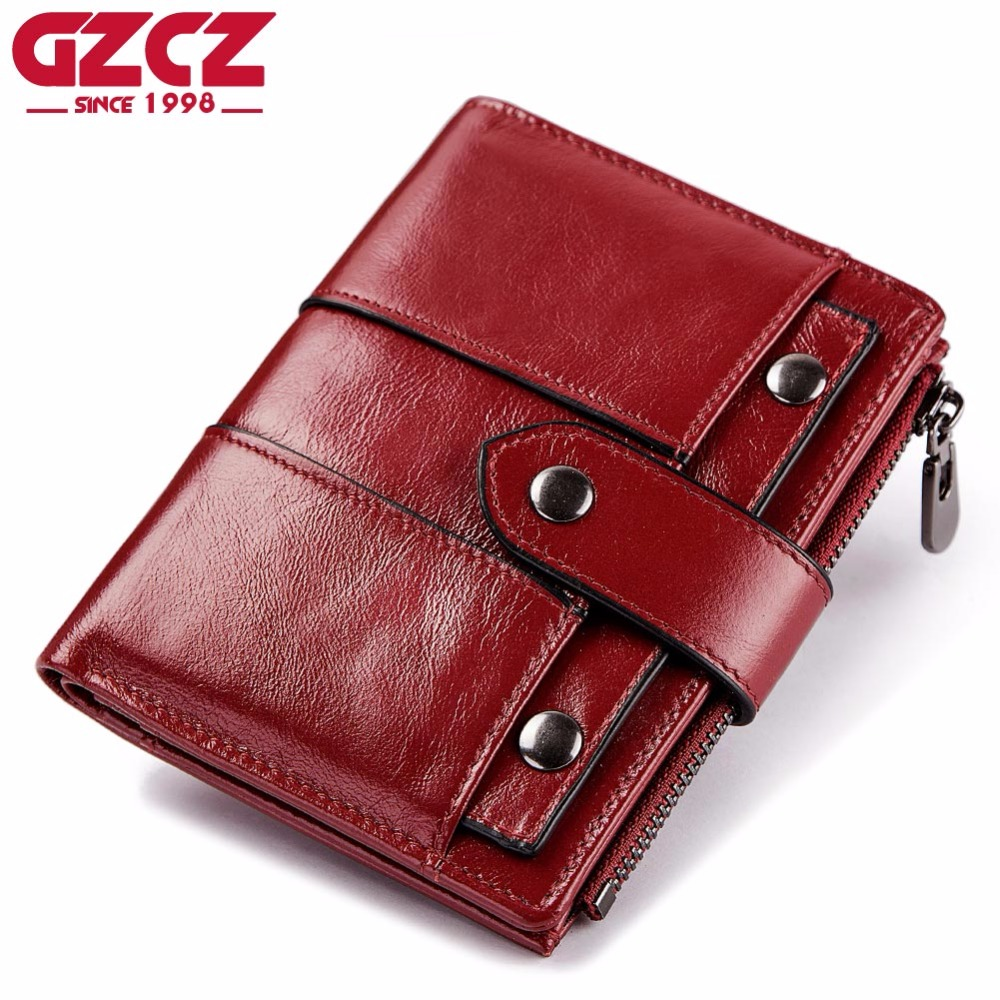 GZCZ Wallet Female Genuine Leather Women Purse Coin Purse Hasp Small Wallet Woman Zipper Design Portomonee Clamp For Money Bag