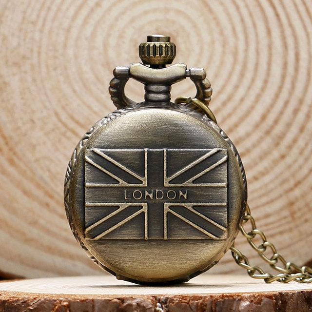 London Souvenirs England UK flag Design Small Pocket Watch Men Women Necklace Cl