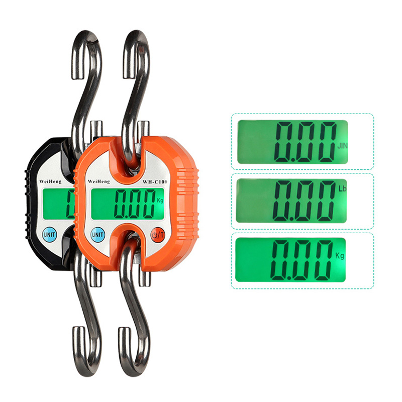 150KG Crane Scale Industrial Hook Hanging Weight Digital LCD Display Luggage Scales Kg/Lb Conversion Random Color--M25 random color hook 1pc