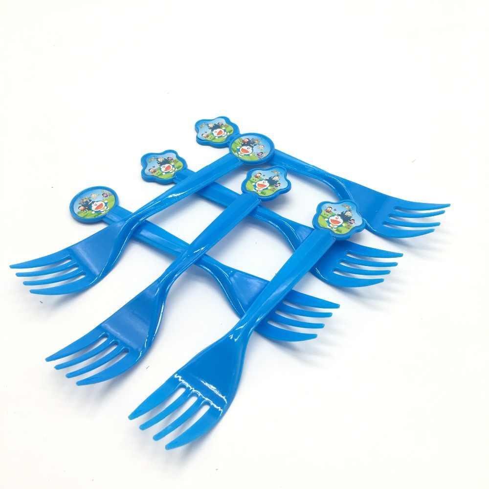 10 cái/lốc Doraemon nhựa forks sinh nhật nguồn cung cấp bên Doraemon dùng một lần dĩa bé tắm đảng decorations
