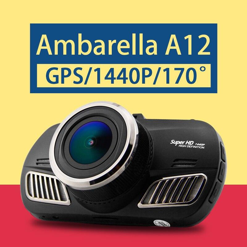imágenes para A12 DAB201 Ambarella DVR Del Coche 1440 P Videocámara Del Coche de la Pantalla de 2.7 pulgadas Logger GPS Cuadro Negro Dash Cam DVR 170 Grados Lente Gran Angular D201