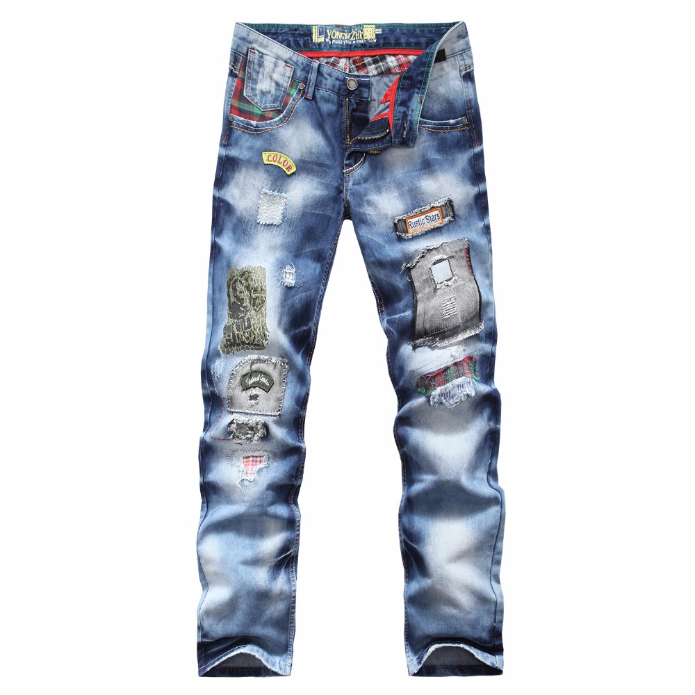 ФОТО 2016brand personality popular clothing style hole patch jeans autumn and winter fashion men straight beggar trousers blue