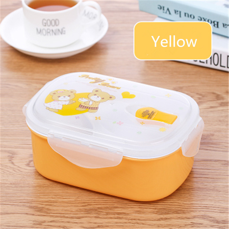 Plastic Bento Box Double Layer Microwave Kid Lunch Box Food Container Picnic Travel Fruit Storage Box Set for Office Lunchbox