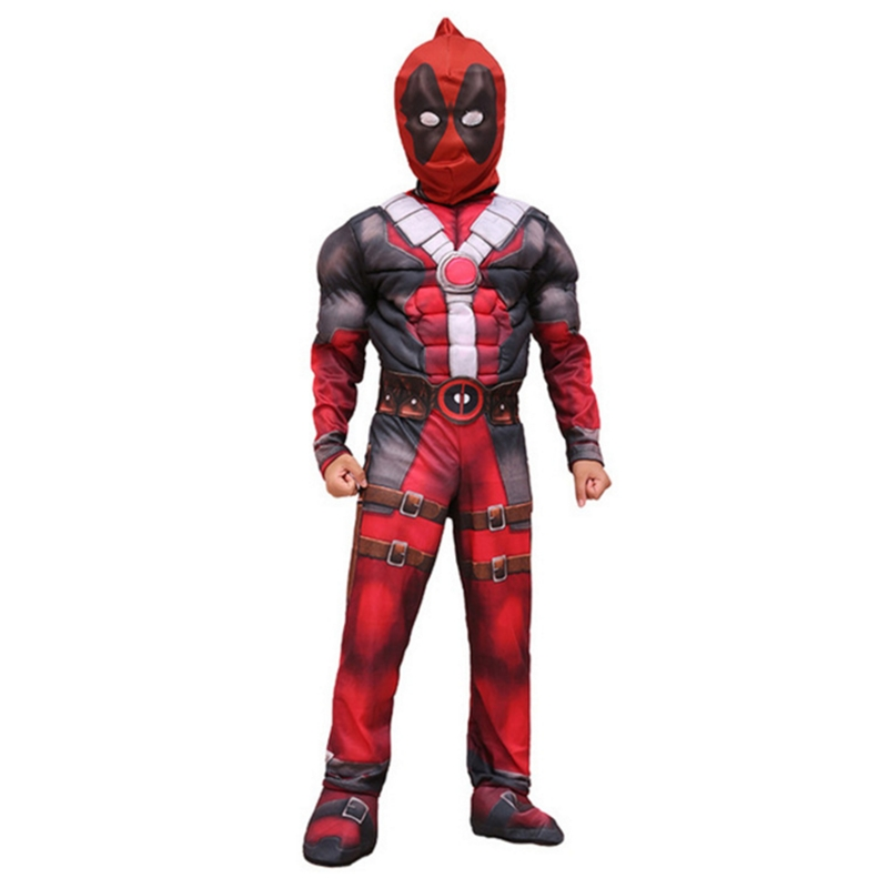 Findpitaya New Arrival Deluxe Boys Marvel Deadpool Costume Children Muscle Movie Halloween Carnival Party Cosplay Costumes