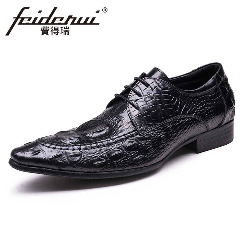 Elegant Italian Men's Wedding Party Footwear Genuine Leather Luxury Pointed Toe Lace-up Derby Man Formal Dress Shoes YMX479 new italian designer men s wedding party footwear genuine leather pointed toe lace up derby man luxury formal dress shoes ymx504
