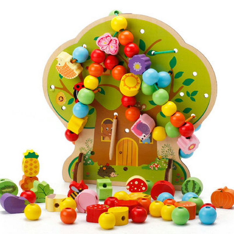 Free shipping Kids Cartoons home wearing rope games, Childrens wooden blocks, Wood educational lacing animal/fruit beads toys