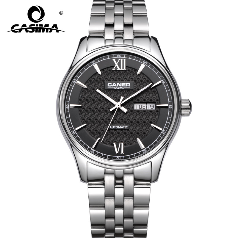 CASIMA  fashion dress sapphire calendar stainless steel waterproof  automatic mechanical watches for men with watch box 6808 carnival classic dress men automatic mechanical watches full steel waterproof gold watch calendar fashion men clock montre homme