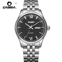 CASIMA moda vestido de zafiro acero inoxidable calendario impermeable relojes mecánicos automáticos para los hombres con la caja de reloj 6808