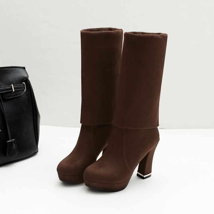 Büyük boy 9 10 11-17 uyluk yüksek çizmeler diz yüksek çizmeler diz çizmeler üzerinde kadın bayan botları streç kollu süet