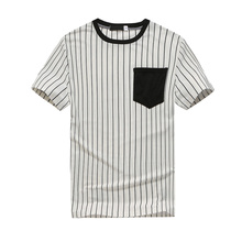Striped Men's T-Shirt Short Sleeve Summer High Street Large T-Shirt Cotton T-Shirt Men's T-Shirt  S-XXL split striped tape sleeve t shirt