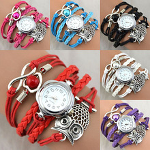 Women Owl Wax Cord Multilayer Knitted Faux Leather Bracelet Wrap Wrist Watch