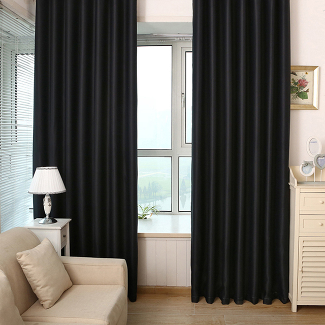 Black Blackout Curtains Curtain Home Living Room Shading Thick Weave Grommet Panels 2PCS 100