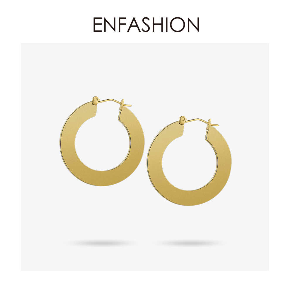Enfashion Large Vintage Hoop Earrings Matte Gold color Earings Stainless Steel Circle Earrings For Women Jewelry Wholesale