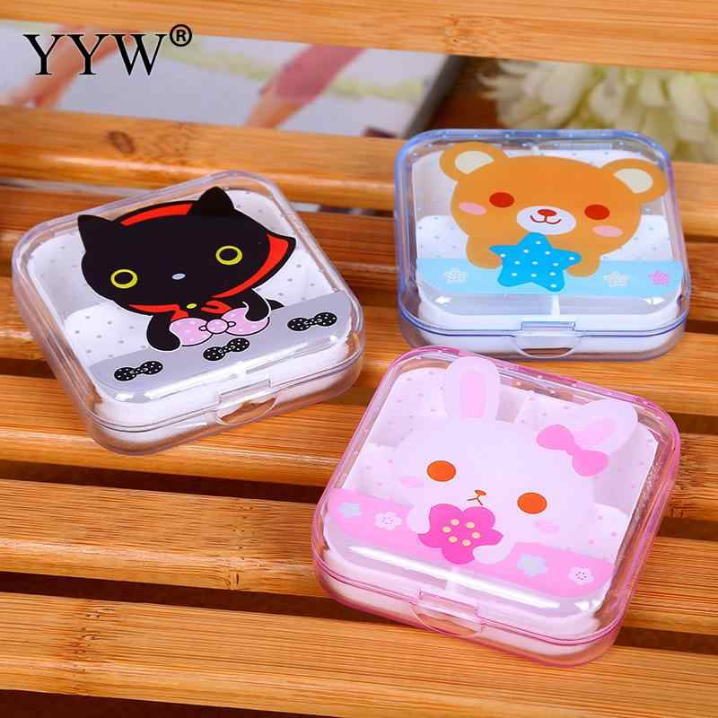 4 Cell Portable Small Jewelry Storage Boxes Plastic Folding Medicine Container Earring Ring Cute Cartoon Pattern Plastic 65x65mm