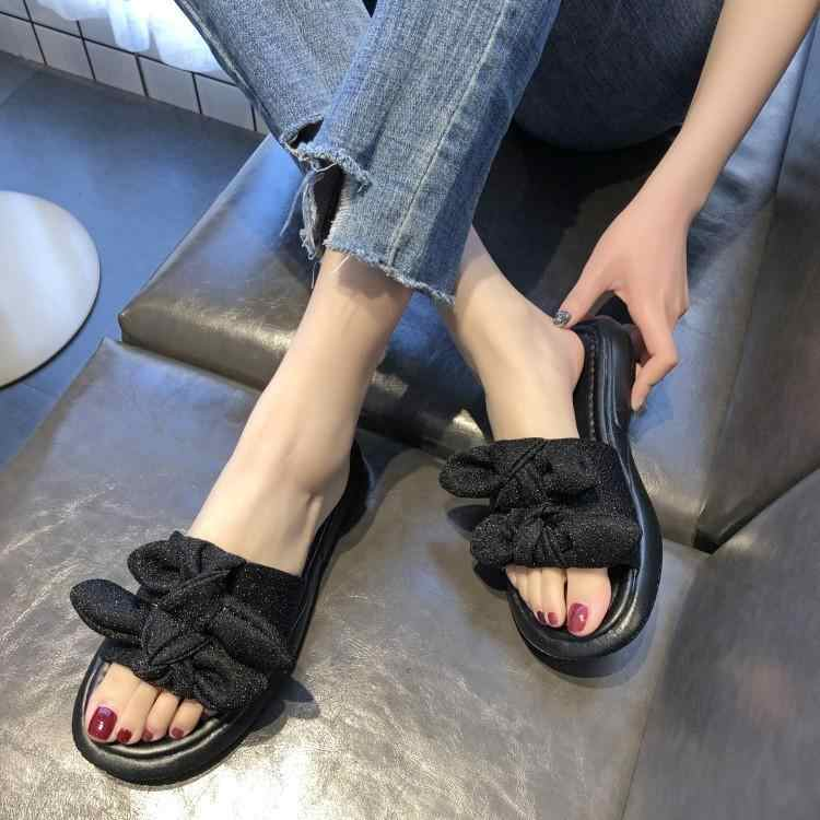 Blue Red Silver Black Sequined Cloth Two Butterfly-knot Buckle Slippers Women Peep Toe Girl Flats Platform Rubber Heels Shoes