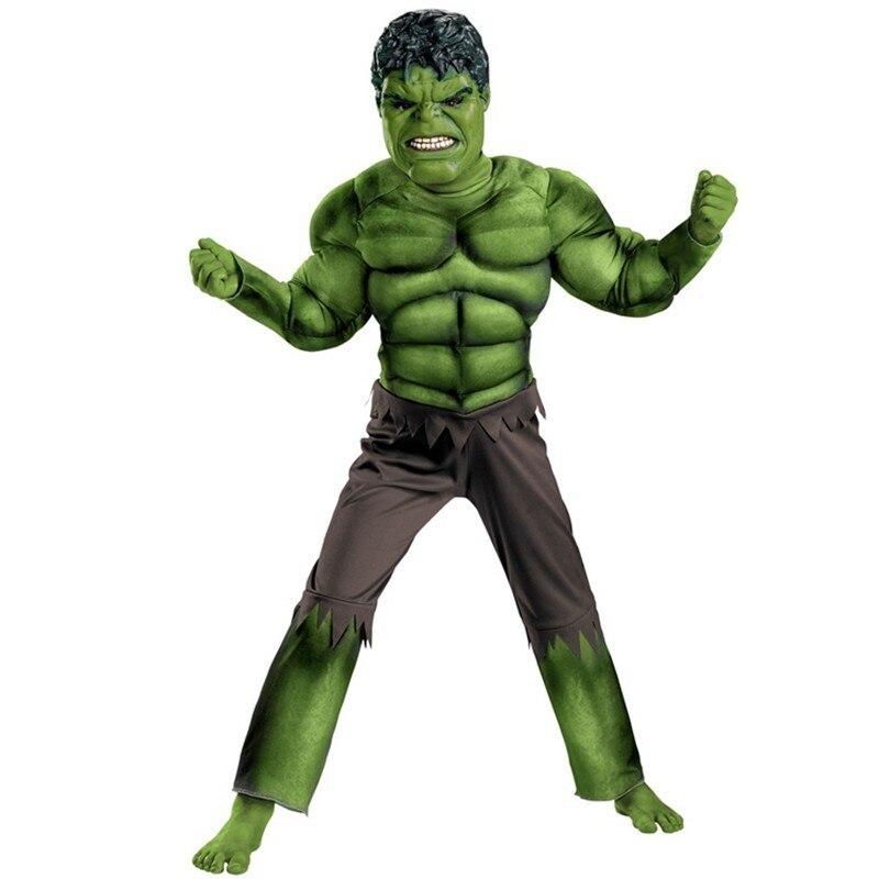 Dětské mstitelky Hulk svalové Halloweenové kostýmy disraces dětské superhrdiny Karneval Cosplay LED masky
