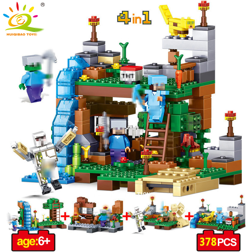 4 in 1 Minecrafted Garden Figures Building Blocks DIY Bricks Compatible With Legoed Minecraft City classic Toy Gift For children new arrival 378pcs 4 in 1 minecrafted building blocks compatible legoed city figures diy building blocks kit toys kids best gift