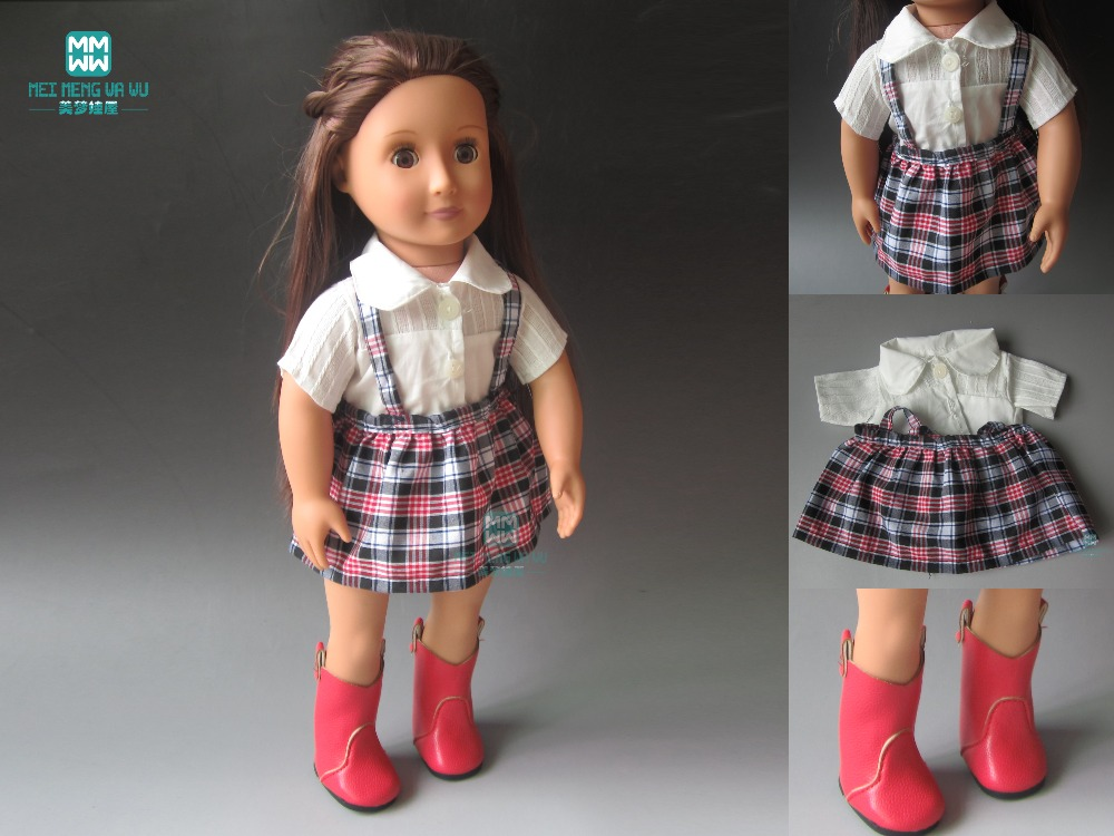 fits Zapf born baby 18 inch 45cm American girl White shirt + plaid skirt Clothes for dolls fashion t shirt tie pants sneakers clothes for dolls 18 inch 45cm american girl and zapf baby born doll accessories