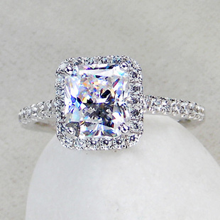 3 carat princess cut sterling silver 925 sona simulated gembpromise engagement rings for womenwhite gold color wedding ring