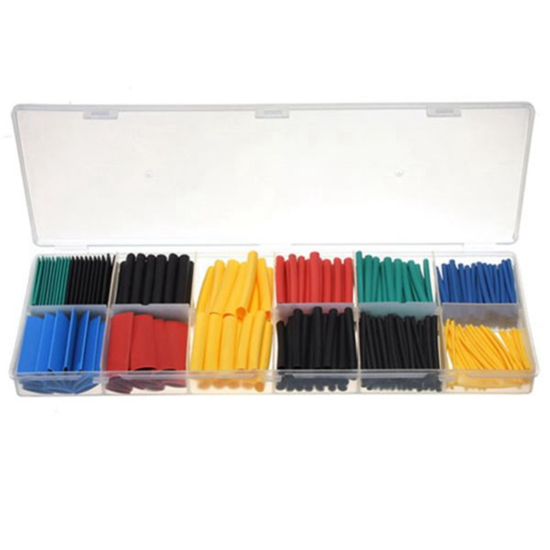 280Pcs 8 Sizes Multi Color 2:1 heat shrink tubing tube sleeving wrap kit RSFR-H heatshrink tubing Yellow Blue Black Green Red