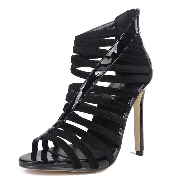 SexeMara Designer Shoes Women Luxury 2016 High Heels Sexy Peep Toe Gladiator Sandals Women Cut Out Ladies Elegant Shoes Black