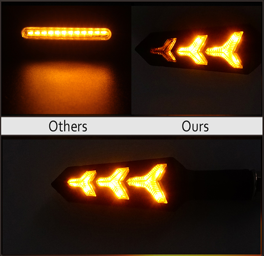 Image 2 - 4pcs LED Turn Signals for Motorcycle Flowing Water Stop Signal  Built Relay Blinker Motorbike Arrows Bendable Brake Light Flasher  -
