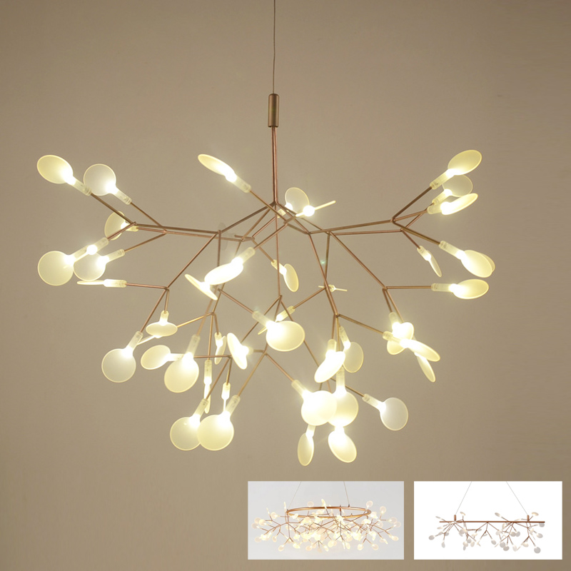 Post Modern Stylish Tree Branch Leaf Led Pendant Light Lamp Decorative Firefly Ceiling Hanging Wire Cable