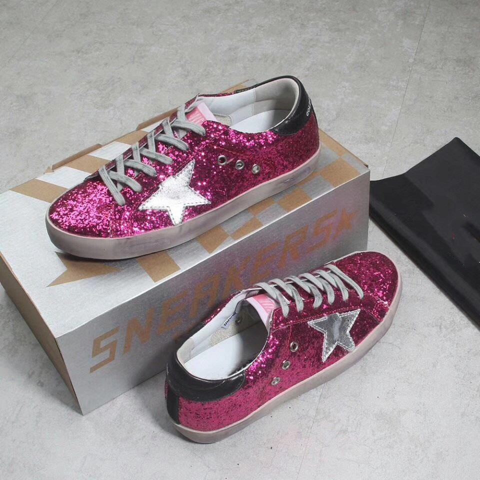 70b61e36816 Do Old Stars Dirty Shoes Red Glitter Women Shoes Rome Style Shoes Casual  Flats Star Casual Lace Up Round Toe tenis feminino