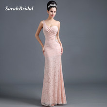 Sexy Hollow Side Mermaid Evening Dresses One Shoulder 2017 Shining Beading Blush Lace Women Prom Gowns Long vestidos de noche