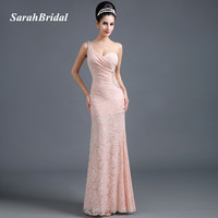 Sexy Hollow Side Mermaid Evening Dresses One Shoulder 2016 Shining Beading Pink Lace Women Prom
