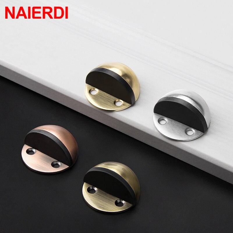 NAIERDI 7 Colors Stainless Steel Rubber Door Stopper Non Punching Sticker Door Holders Catch Floor Mounted Nail-free Door Stops