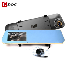 Full HD 1080 P Автомобильный ВИДЕОРЕГИСТРАТОР Зеркало Цифровой Видеорегистратор Авто автомобильные Видеорегистраторы Двойная камера Монитор Заднего Вида ночного видения Камеры Заднего Вида 720 P