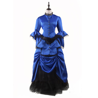 Royal Blue Victorian Bustle Dress Adult Woman's Elegant Ball Gown Vintage Renaissance Dresses Steampunk Dress Halloween Costumes