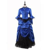 Royal Blue Victorian Bustle Dress Adult Woman's Elegant Ball Gown Vintage Renaissance Dresses Steampunk Dress Halloween Costumes