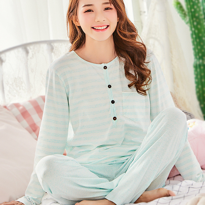 brand Long-Sleeve Pregnant Woman Clothes Natural Color Cotton 2018 spring Summer Female Striped Nursing Pajamas Outing Clothing