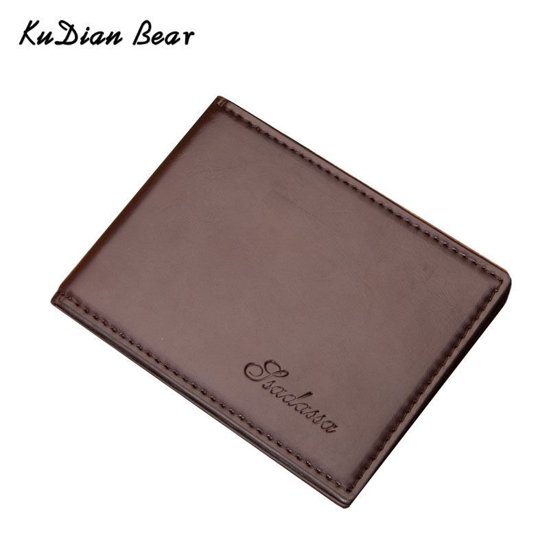 KUDIAN BEAR Minimalist Men Wallet Vintage Leather Portfolio Wallet and Purse for Male Slim Clamps Carteira Masculina BID235 PM49 baellerry small mens wallets vintage dull polish short dollar price male cards purse mini leather men wallet carteira masculina