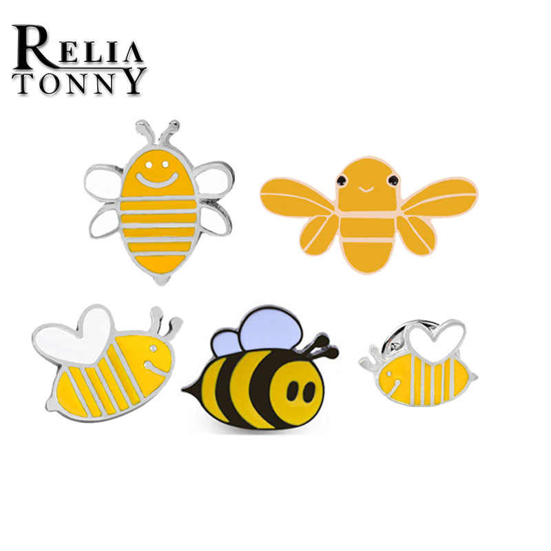 1bf42fe1d9203 1pcs set Cartoon Cute Bee Brooch Women Child Girl Gold Yellow Bees Jewelry  Hat Backpack