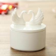 European high grade romantic Swan love ceramic candy box wedding gift box white ceramic jewelry box screw earrings necklace acce(China)