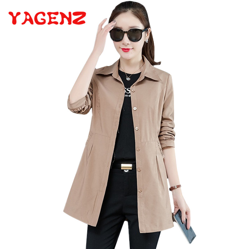 YAGENZ Trench-Coat Spring Autumn Plus-Size Ladies Single-Breasted for Women Casual 320