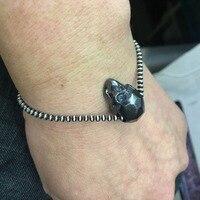 925 Sterling Silver Bracelet Bead 20cm Chain Black Skull Skeleton Charm Thai Silver Bracelets for Women New Fashion Jewelry Gift
