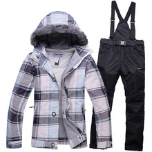 2016 winter ski jacket pants womens suit waterproof warm ski jacket women+snowboard pant sport skiing sets snowboard ski suit