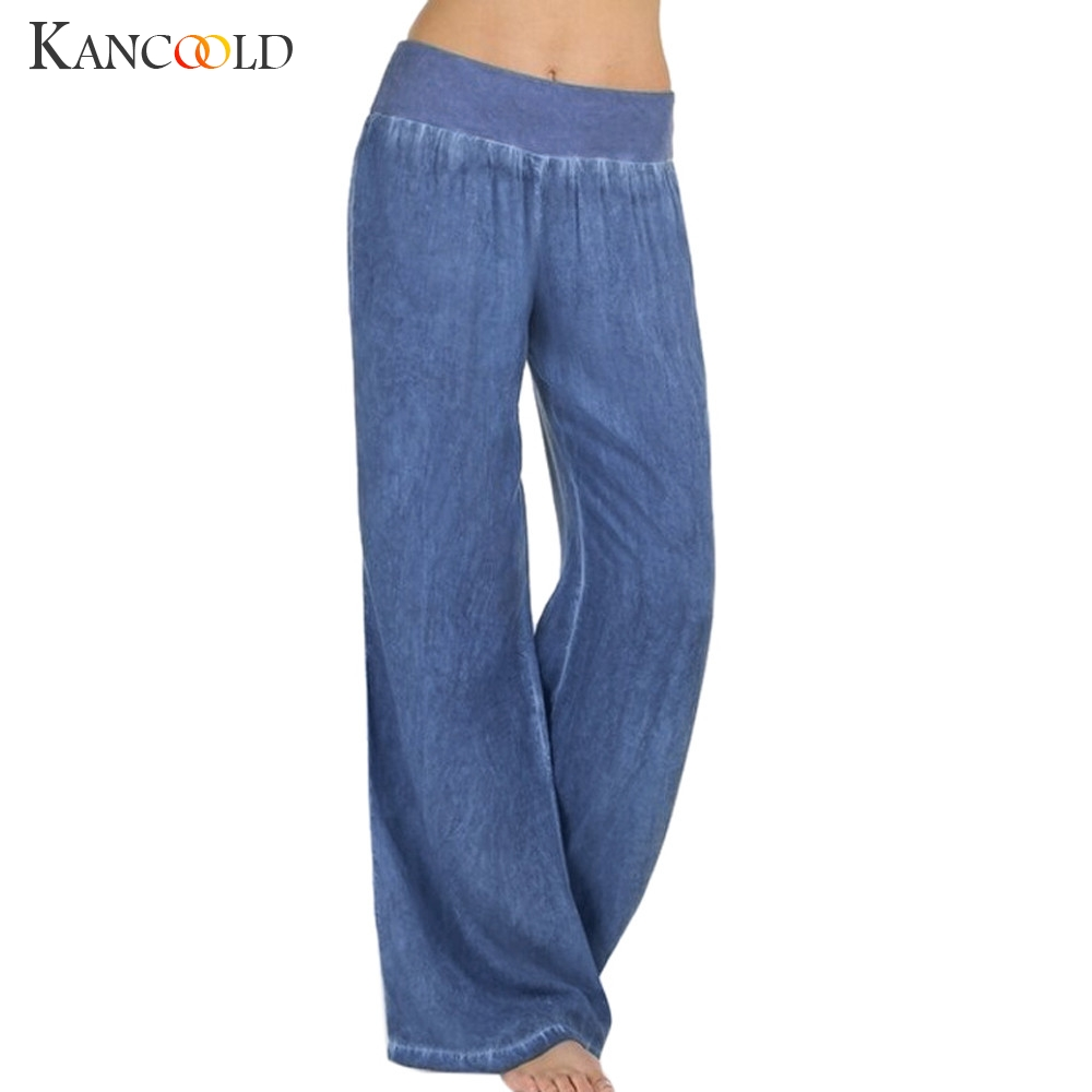 KANCOOLD Pants Women Casual High Waist Elasticity Denim Wide Leg Palazzo Pants Jeans Trousers Loose New Pants Woman 2018dec31