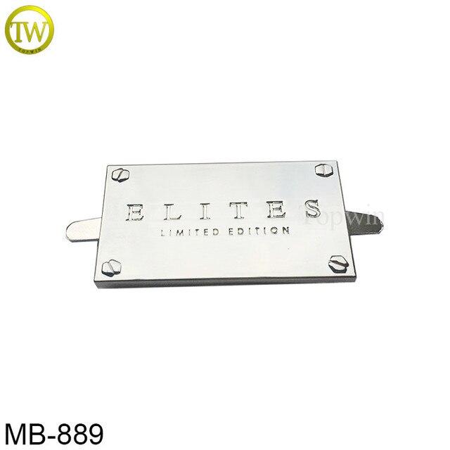 MB889 Custom silver color bag logo plate label metal clothing logos metal  labels 6bde41ba8c2f0