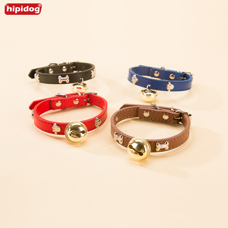 Hipidog Personalized Dog Collars Bells PU Leather Collars Pet Neck Strap Cat Pet Accessories For Small Dogs S M L XL