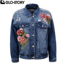 GLO-STORY Women 2017 New Floral Embroidered Denim Jacket Women Plus Size Hole Distressed Loose Autumn Jackets Coat WFY-5117